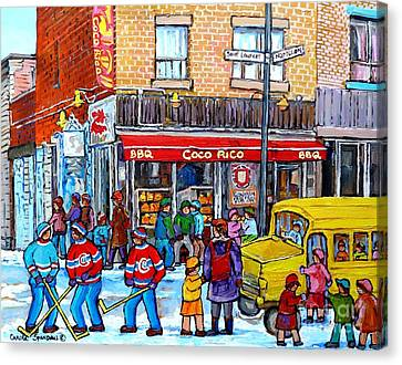 Rue St Laurent Corner Napoleon Coco Rico Bbq Montreal Winter Scene After School Hockey C Spandau Canvas Print by Carole Spandau