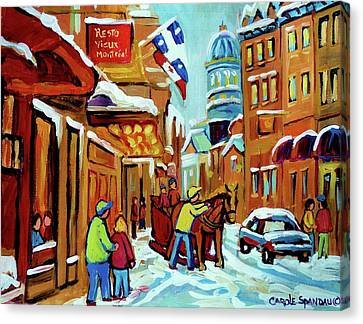 Rue St Paul Montreal Streetscene Cafes And Caleche Canvas Print by Carole Spandau
