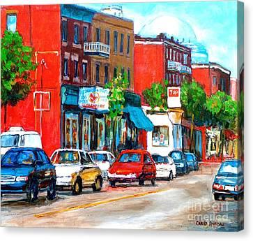 Rue St Viateur Streetscene Montreal Memories Canadian Art Carole Spandau City Scene Specialist Canvas Print