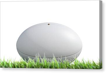 Rugby Ball Resting On Grass Canvas Print by Allan Swart