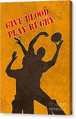 Rugby Player Jumping Catching Ball In Lineout Canvas Print by Aloysius Patrimonio