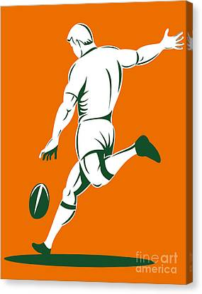Rugby Player Kicking Canvas Print