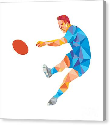 Rugby Player Kicking Ball Low Polygon Canvas Print