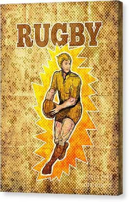 Rugby Player Running Passing Ball Canvas Print by Aloysius Patrimonio