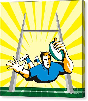 Rugby Player Scoring Try Retro Canvas Print by Aloysius Patrimonio