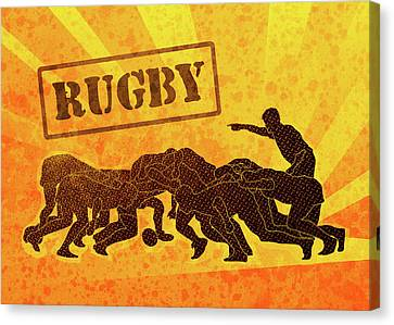 Rugby Players Engaged In Scrum  Canvas Print by Aloysius Patrimonio