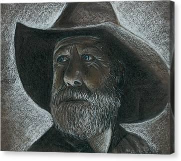 Rugged Blue Eyed Cowboy Canvas Print by Linda Nielsen