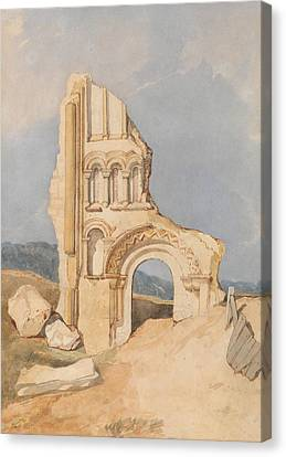 Ruin Of A Norman Church Canvas Print by John Sell Cotman