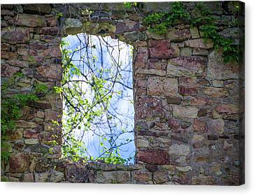 Canvas Print featuring the photograph Ruin Of A Window - Bridgetown Millhouse  Bucks County Pa by Bill Cannon
