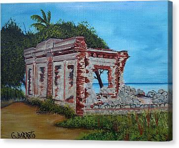 Ruinas Del Faro En Aguadilla Canvas Print by Gloria E Barreto-Rodriguez