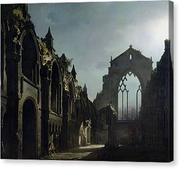 Ruins Of Holyrood Chapel Canvas Print by Louis Jacques Mande Daguerre