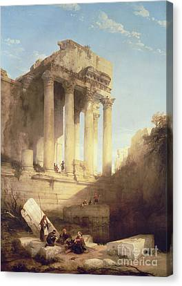 Ruins Of The Temple Of Bacchus Canvas Print by David Roberts
