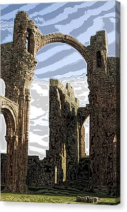 Ruins On The Holy Island Canvas Print by Carl Purcell