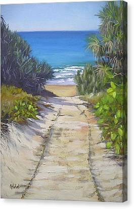 Canvas Print featuring the painting Rules Beach Queensland Australia by Chris Hobel