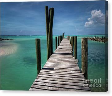 Rum Cay Marina Jetty In Bahamas Canvas Print by Jola Martysz