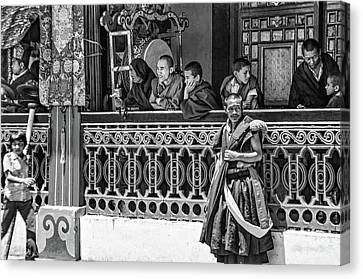 Tibetan Buddhism Canvas Print - Rumtek Monastery Festival Bw by Steve Harrington