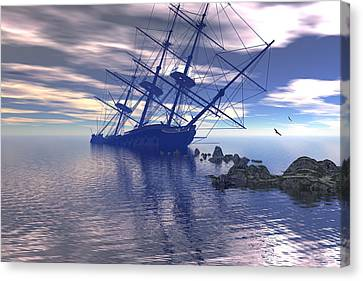 Canvas Print featuring the digital art Run Aground by Claude McCoy