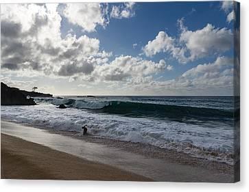 Big Kahuna Canvas Print - Run The Big Kahuna Is Coming - Waimea Bay Beach Fun On Oahu Hawaii by Georgia Mizuleva