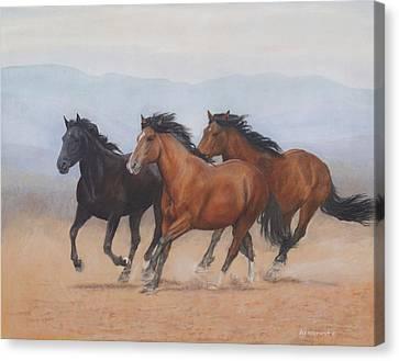 Bay Horse Canvas Print - Run Wild Run Free by Carla Armbrust