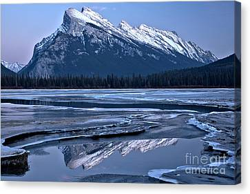 Canvas Print - Rundle Refelctions In The Winding Ice Channels by Adam Jewell