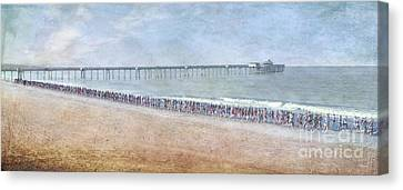 Canvas Print featuring the photograph Runners On The Beach Panorama by David Zanzinger