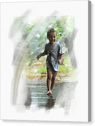 Runnin' In The Rain Canvas Print by Cliff Hawley