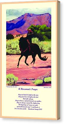 Canvas Print featuring the painting Running Before The Storm And Prayer by Anastasia Savage Ealy