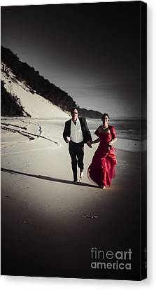 Running Bride And Groom Canvas Print