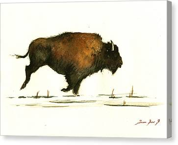 Bison Canvas Print - Running Buffalo by Juan  Bosco