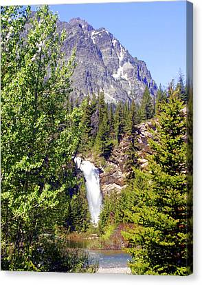 Running Eagle Falls Glacier National Park Canvas Print by Marty Koch