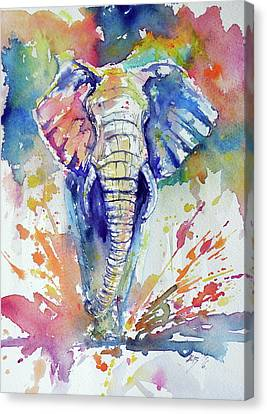 Running Elephant Canvas Print by Kovacs Anna Brigitta