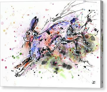 Running Hare Canvas Print by Zaira Dzhaubaeva