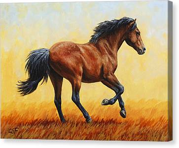 Bay Horse Canvas Print - Running Horse - Evening Fire by Crista Forest