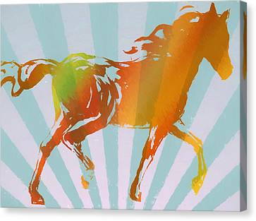 Running Horse Pop Art Canvas Print by Dan Sproul