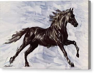Running Horse Canvas Print by Richard De Wolfe