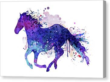Horse Canvas Print - Running Horse Watercolor Silhouette by Marian Voicu