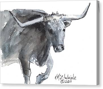 Running Texas Longhorn Watercolor Painting By Kmcelwaine Canvas Print by Kathleen McElwaine