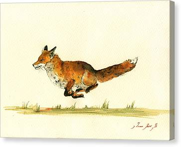 Kid Wall Art Canvas Print - Running Red Fox by Juan  Bosco
