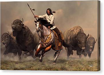 Medicine Canvas Print - Running With Buffalo by Daniel Eskridge
