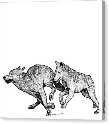 Running Wolves Canvas Print by Karl Addison