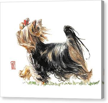 Watercolor Pet Portraits Canvas Print - Running Yorkie by Debra Jones