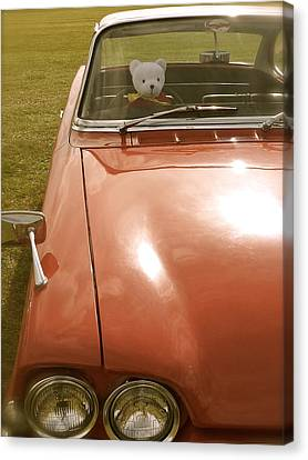Canvas Print featuring the photograph Rupert Bear Out For A Drive by John Colley
