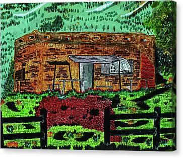 Old Cabins Canvas Print - Rural Hide Out by Adolfo hector Penas alvarado