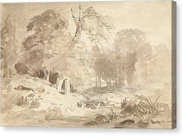 Rural Landscape In The Mark Brandenburg Canvas Print by Carl Blechen