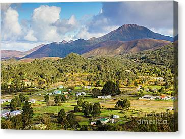 Rural Landscape With Mountains And Valley Village Canvas Print by Jorgo Photography - Wall Art Gallery