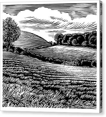 Linocut Canvas Print - Rural Landscape, Woodcut by Gary Hincks