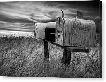 Rural Mailboxes In Black And White On The Prairie Canvas Print by Randall Nyhof