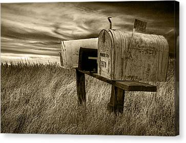 Rural Mailboxes In Sepia Canvas Print by Randall Nyhof