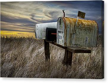 Rural Mailboxes On The Prairie Canvas Print by Randall Nyhof