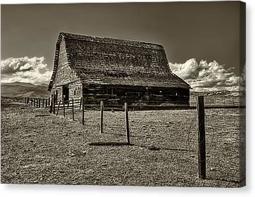 Rural Montana Barn In Sepia Canvas Print by Mark Kiver